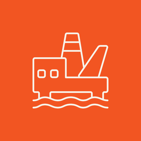 Offshore oil platform line icon for web, mobile and infographics. Vector white icon isolated on red background.