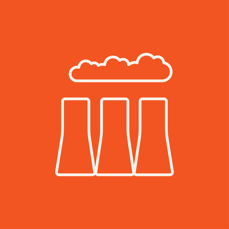 distill: Factory pipes line icon for web, mobile and infographics. Vector white icon isolated on red background.