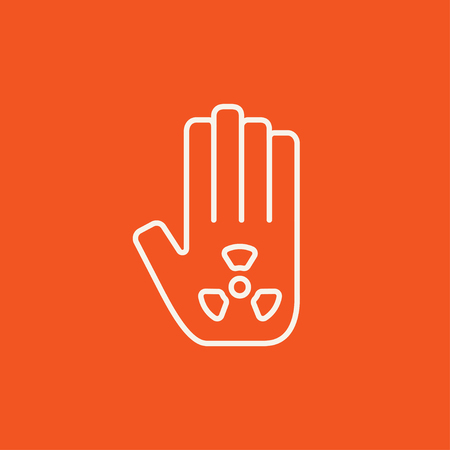 radiation sign: Ionizing radiation sign on a palm line icon for web, mobile and infographics. Vector white icon isolated on red background. Illustration