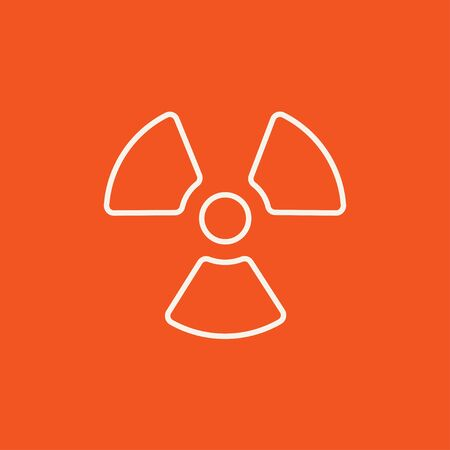 ionizing radiation risk: Ionizing radiation sign line icon for web, mobile and infographics. Vector white icon isolated on red background. Illustration