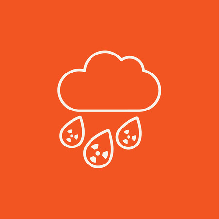 contaminated: Radioactive cloud and rain line icon for web, mobile and infographics. Vector white icon isolated on red background.