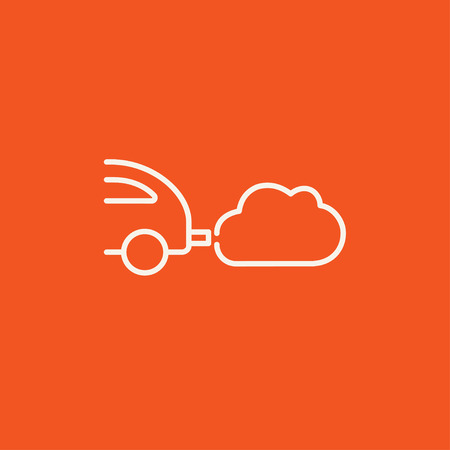 Car spewing polluting exhaust line icon for web, mobile and infographics. Vector white icon isolated on red background.