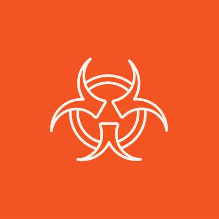 pandemia: Bio hazard sign line icon for web, mobile and infographics. Vector white icon isolated on red background.