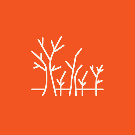 Tree with bare branches line icon for web, mobile and infographics. Vector white icon isolated on red background.