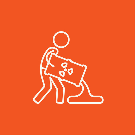 radioactive tank and warning sign: A man pouring the liquid from the barrel with ionizing radiation sign for web, mobile and infographics. Vector white icon isolated on red background.