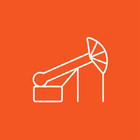Pump jack oil crane line icon for web, mobile and infographics. Vector white icon isolated on red background.  イラスト・ベクター素材
