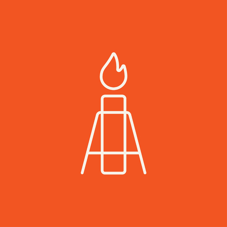 Gas flare line icon for web, mobile and infographics. Vector white icon isolated on red background. 向量圖像