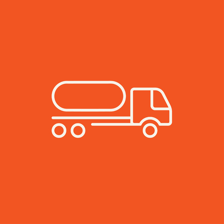 fuel truck: Fuel truck line icon for web, mobile and infographics. Vector white icon isolated on red background.