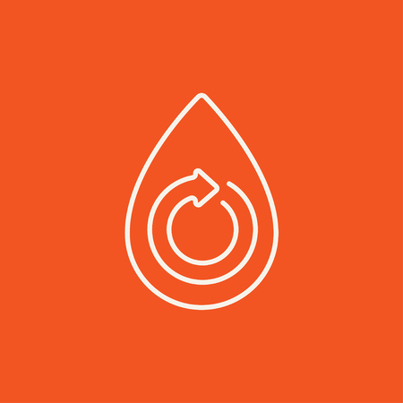 Water drop with circular arrow line icon for web, mobile and infographics. Vector white icon isolated on red background.