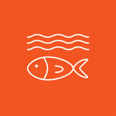 ecological damage: Fish under water line icon for web, mobile and infographics. Vector white icon isolated on red background.