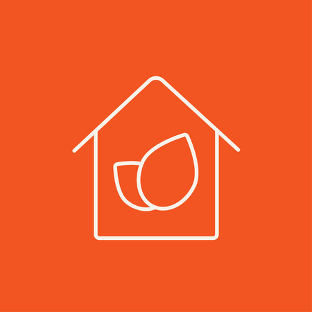 Eco-friendly house line icon for web, mobile and infographics. Vector white icon isolated on red background.
