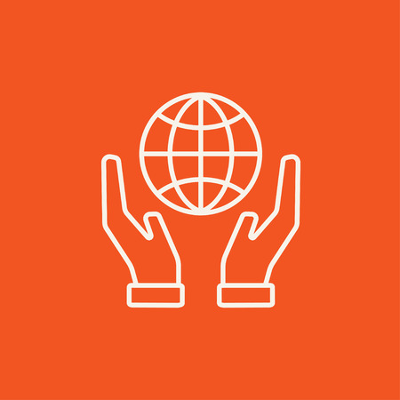 hands holding globe: Two hands holding globe line icon for web, mobile and infographics. Vector white icon isolated on red background.
