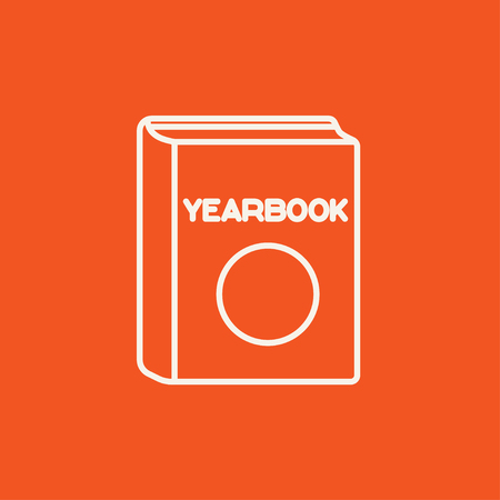 yearbook: Yearbook line icon for web, mobile and infographics. Vector white icon isolated on red background.