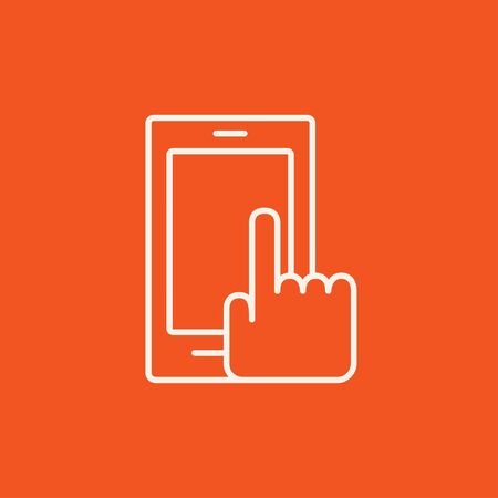phone icon: Finger pointing at smart phone line icon for web, mobile and infographics. Vector white icon isolated on red background. Illustration