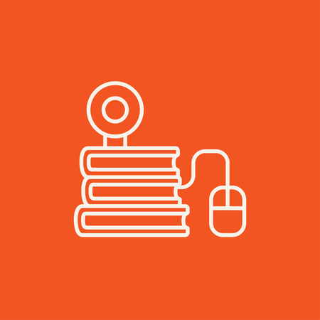 elearn: Computer mouse connected to a stack of books with webcam on it line icon for web, mobile and infographics. Vector white icon isolated on red background.