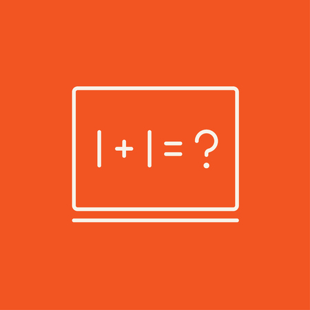 Maths example written on blackboard line icon for web, mobile and infographics. Vector white icon isolated on red background.
