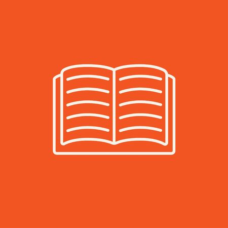 Open book line icon for web, mobile and infographics. Vector white icon isolated on red background. Vettoriali