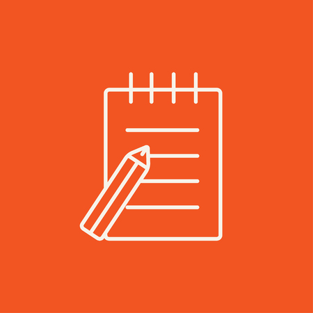 writing pad: Writing pad and pen line icon for web, mobile and infographics. Vector white icon isolated on red background. Illustration