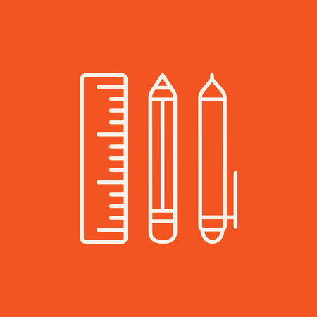 School supplies line icon for web, mobile and infographics. Vector white icon isolated on red background. 向量圖像
