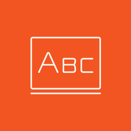 lexicon: Letters abc on the blackboard line icon for web, mobile and infographics. Vector white icon isolated on red background. Illustration