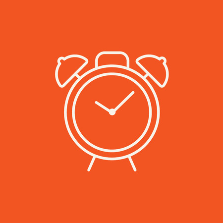 Alarm clock line icon for web, mobile and infographics. Vector white icon isolated on red background. Ilustração