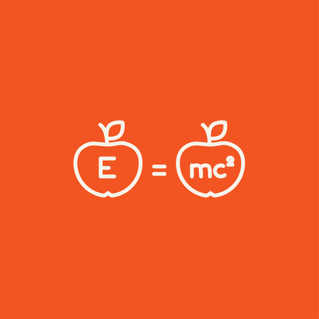 mc2: Two apples with formulae line icon for web, mobile and infographics. Vector white icon isolated on red background.