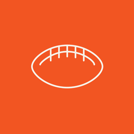 Rugby football ball line icon for web, mobile and infographics. Vector white icon isolated on red background.