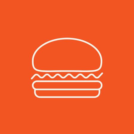 Web、モバイル、インフォ グラフィックのハンバーガー ライン アイコン。白いベクトルのアイコンは、赤い背景に分離されました。