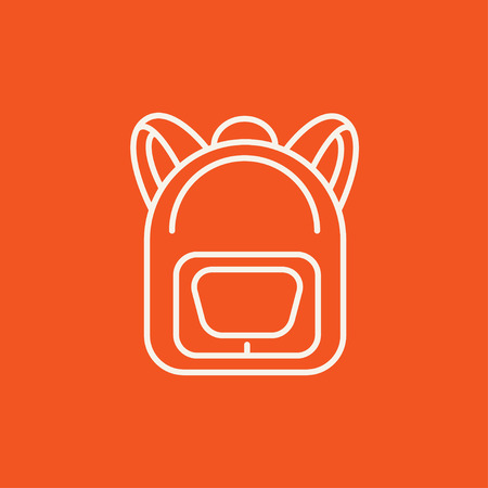 1 school bag: Backpack line icon for web, mobile and infographics. Vector white icon isolated on red background.