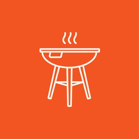 Kettle barbecue grill line icon for web, mobile and infographics. Vector white icon isolated on red background. Illustration