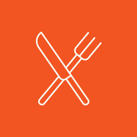 meat chopper: Crossed  knife and fork line icon for web, mobile and infographics. Vector white icon isolated on red background.