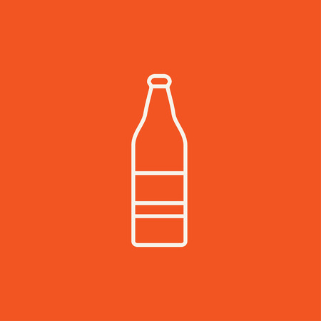 scotch: Glass bottle line icon for web, mobile and infographics. Vector white icon isolated on red background.