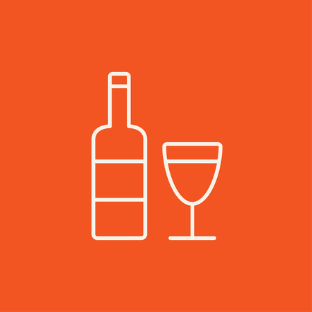bourbon whisky: Bottle of wine line icon for web, mobile and infographics. Vector white icon isolated on red background. Illustration