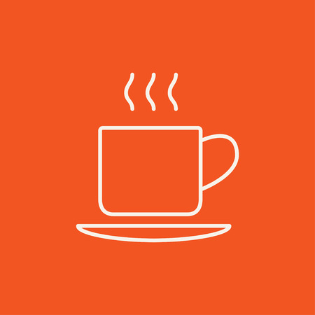 teaparty: Cup of hot drink line icon for web, mobile and infographics. Vector white icon isolated on red background. Illustration