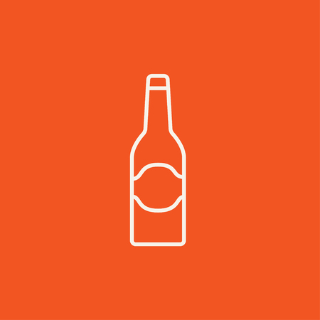 Glass bottle line icon for web, mobile and infographics. Vector white icon isolated on red background.
