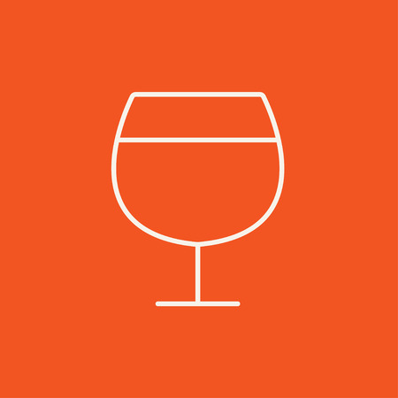 brandy: Glass of wine line icon for web, mobile and infographics. Vector white icon isolated on red background.