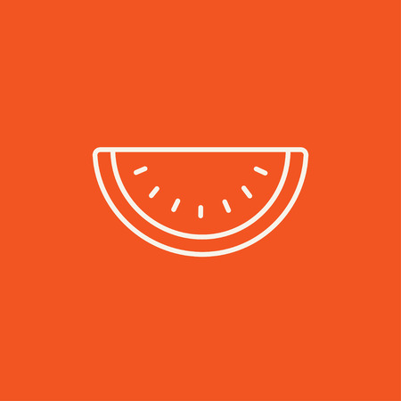 Watermelon line icon for web, mobile and infographics. Vector white icon isolated on red background. Stock Vector - 49277753