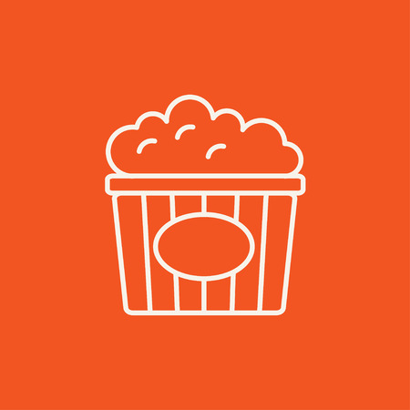 food industry: Popcorn line icon for web, mobile and infographics. Vector white icon isolated on red background. Illustration