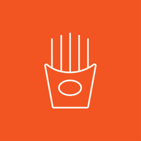 French fries line icon for web, mobile and infographics. Vector white icon isolated on red background. Ilustração