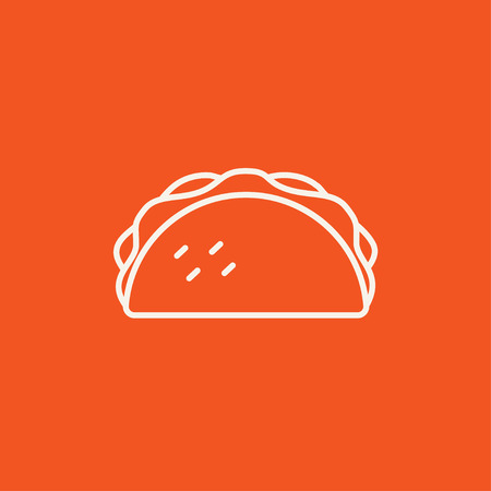 Taco line icon for web, mobile and infographics. Vector white icon isolated on red background.