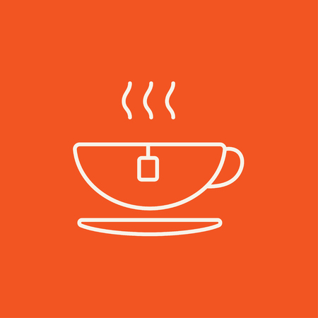 teaparty: Hot tea in a cup line icon for web, mobile and infographics. Vector white icon isolated on red background. Illustration