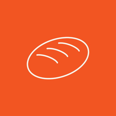 Loaf line icon for web, mobile and infographics. Vector white icon isolated on red background.