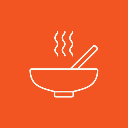 broth: Bowl of hot soup with spoon line icon for web, mobile and infographics. Vector white icon isolated on red background.
