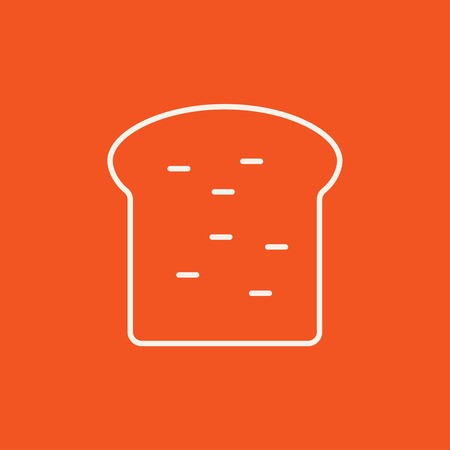 wholemeal: Single slice of bread line icon for web, mobile and infographics. Vector white icon isolated on red background. Illustration