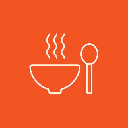 soup spoon: Bowl of hot soup with spoon line icon for web, mobile and infographics. Vector white icon isolated on red background.