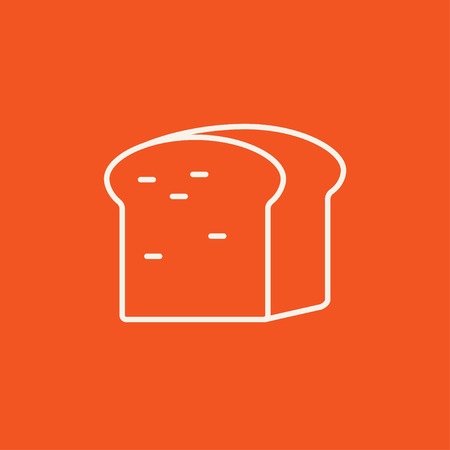 wholemeal: Half of bread line icon for web, mobile and infographics. Vector white icon isolated on red background. Illustration