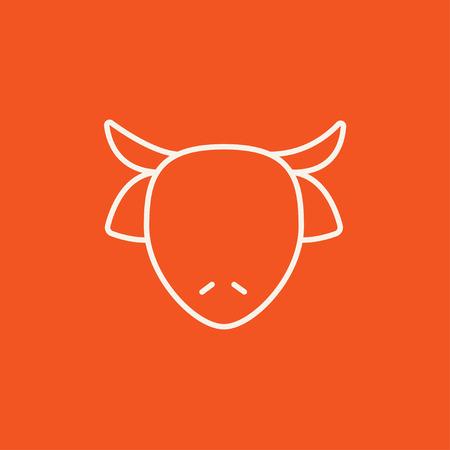 牛の頭は、web、モバイルのアイコンとインフォ グラフィックをラインします。白いベクトルのアイコンは、赤い背景に分離されました。