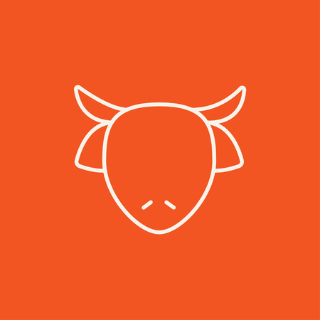 Cow head line icon for web, mobile and infographics. Vector white icon isolated on red background.