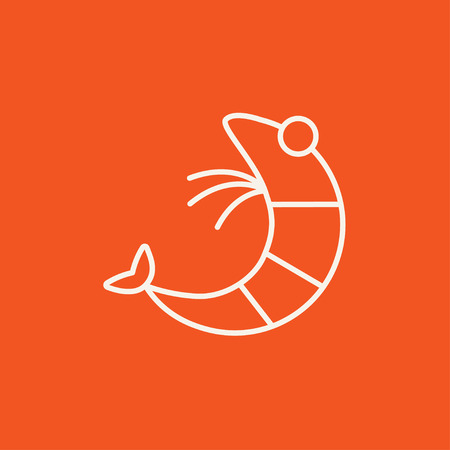 krill: Shrimp line icon for web, mobile and infographics. Vector white icon isolated on red background. Illustration