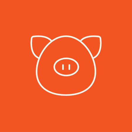pigling: Pig head line icon for web, mobile and infographics. Vector white icon isolated on red background.